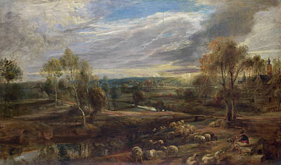 Belgium Painting - A Landscape With A Shepherd And His Flock by Peter Paul Rubens