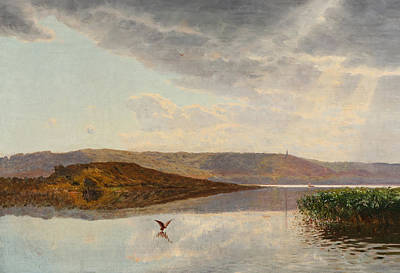 Painting - A Landscape With A View Of Himmelbjerget by Godfred Christensen