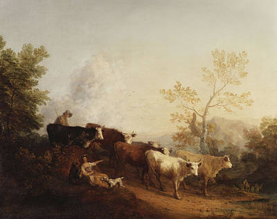 Cattle Dog Painting - A Landscape With Cattle Returning Home by Thomas Gainsborough