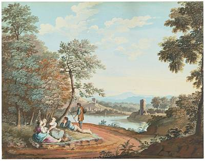 Landscape Painting - A Landscape With Figures Resting By A River by Giovanni