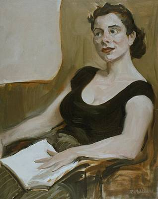 Painting - A Lap Reader by Robert Holden