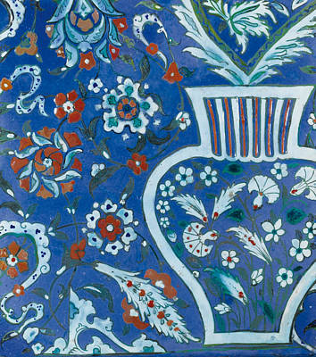 Pottery Painting - A Large And Rare Iznik Lavender Blue Pottery Tile by Eastern Accents