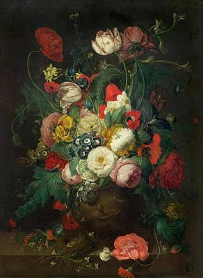 Clay Relief Painting - A Large Bouquet Of Flowers In A Relief by Joseph