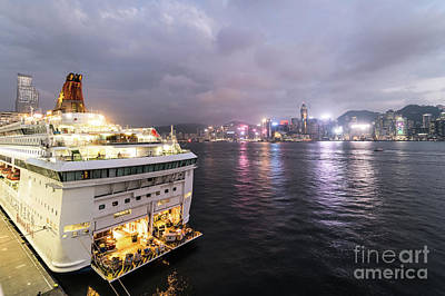 Photograph - A Large Cruise Ship Anchored At The Ocean Cruise Terminal In Kow by Didier Marti
