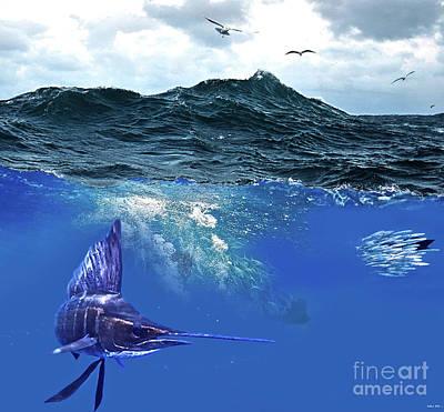 Sailfish Mixed Media - A Large Sailfish, Herding Schools Of Fish by Thomas Pollart