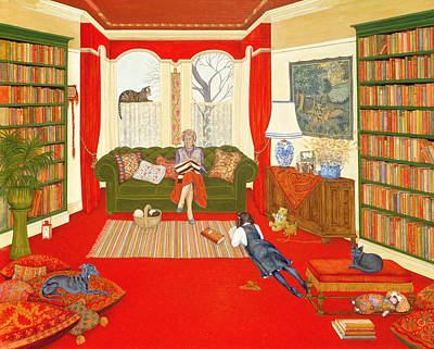 Library Painting - A Lazy Afternoon by Ditz