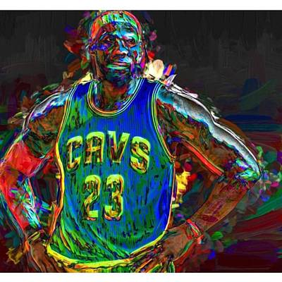 Celebrities Photograph - A Lebron James Creative Edit Digital by David Haskett