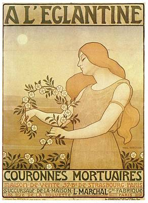 Royalty-Free and Rights-Managed Images - A LEglantine - Woman With Funeral Flowers - Vintage Advertising Poster by Studio Grafiikka