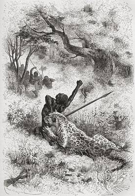 Native Drawing - A Leopard Attacking An African Native by Vintage Design Pics