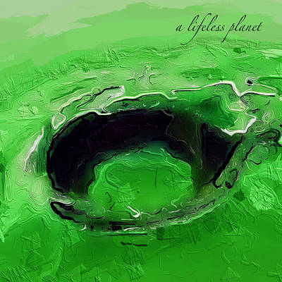 Digital Art - A Lifeless Planet Green by ISAW Gallery