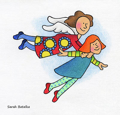 Whimsical Wall Art - Drawing - A Lift Up by Sarah Batalka