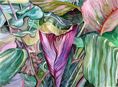Tropical Drawing - A Light In The Garden by Mindy Newman