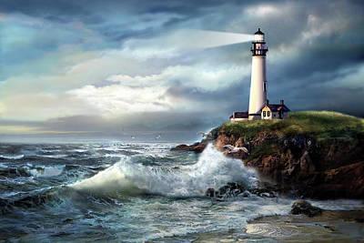 Gina Femrite Wall Art - Painting - A Light Of Hope, Pigeon Point Lighthouse  by Regina Femrite