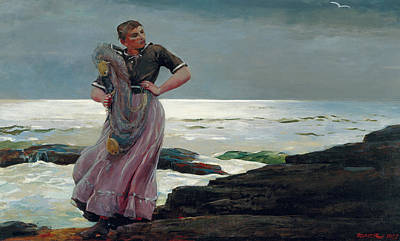 A Light On The Sea Art Print by Winslow Homer