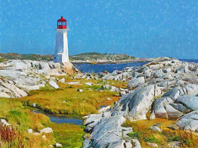 Digital Art - A Lighthouse Near Peggy's Cove by Digital Photographic Arts