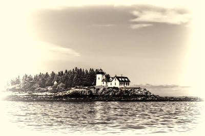 Photograph - A Lighthouse On The Coast Of Maine In Sepia Fadeout by Kay Brewer