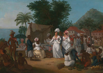 Indian Art Painting - A Linen Market With A Linen-stall And Vegetable Seller In The West Indies by Agostino Brunias