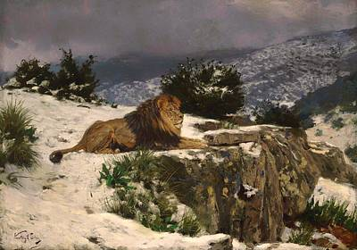Wildlife Landscape Painting - A Lion In The Snow by Mountain Dreams