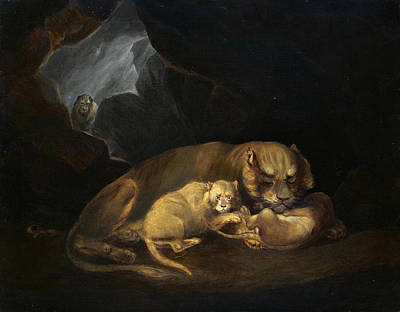 Painting - A Lioness In A Cave With Her Cubs by William Huggins