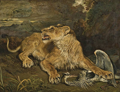 Painting - A Lioness With A Heron by James Ward