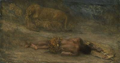 Amy Hamilton Animal Collage - A lioness with her cubs at a dead black man, called  Nemesis , John Macallan Swan, 1870 - 1905 by John Macallan Swan