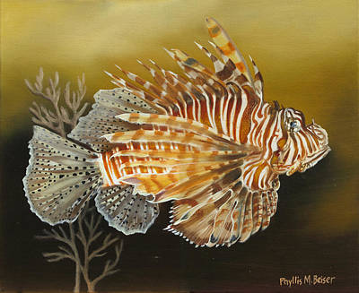 Lionfish Painting - A Lionfish Study by Phyllis Beiser