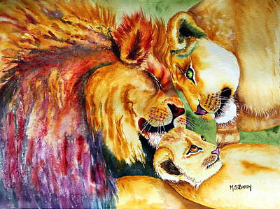 Painting - A Lion's Pride by Maria Barry