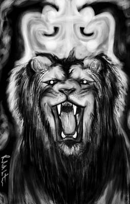 Painting - A Lion's Royalty B/w by Robert Watson