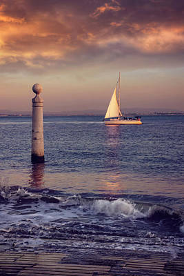 Sunset Sailing Photograph - A Lisbon Sunset By The Tagus River by Carol Japp