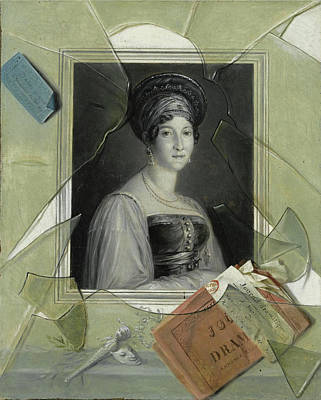 Laurent Dabos Painting - A Lithograph Portrait Of A Woman With A Playbill Behind Broken Glass by Laurent Dabos