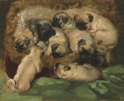 A Litter Of Pugs Art Print by Henriette Ronner-Knip
