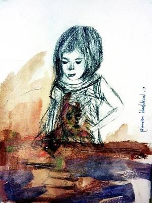 Drawing - A Little Artist by Wanvisa Klawklean