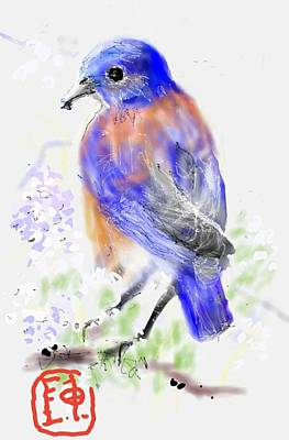 Digital Art - A Little Bird In Blue by Debbi Saccomanno Chan