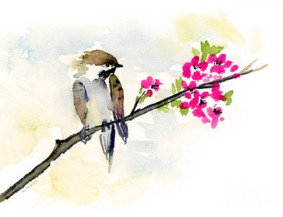Sparrow Painting - A Little Bother by Amy Kirkpatrick