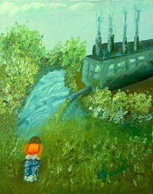A Little Boy Peeing In The Willamette River Print by DJ Russell