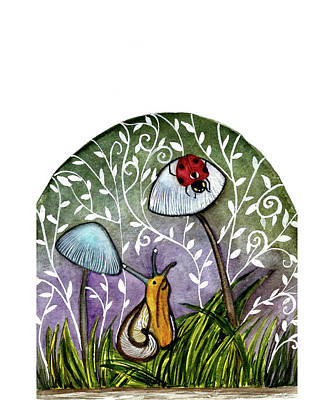 A Little Chat-ladybug And Snail Art Print by Garima Srivastava