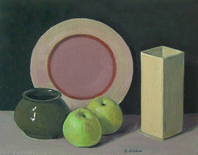 Painting - A Little Experiment by Robert HoldenPlate and a Vase and Two Apples