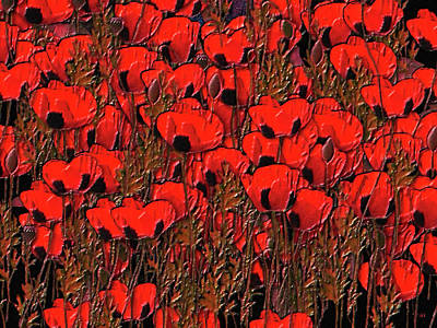 Digital Art - A Little Family Gathering Of Poppies by Sherri Of Palm Springs