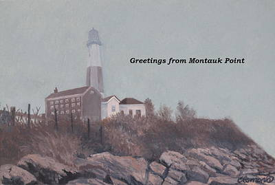 Painting - A Little Fog On Montauk Point Lighthouse by Barbara Barber