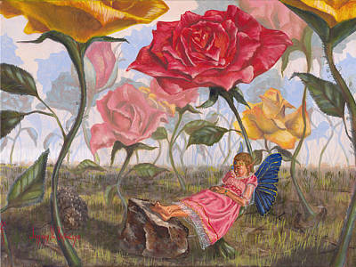 Flower Pink Fairy Child Painting - A Little Nap by Jeff Brimley