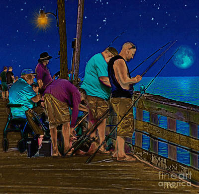 A Little Night Fishing At The Rodanthe Pier 2 Art Print by Anne Kitzman