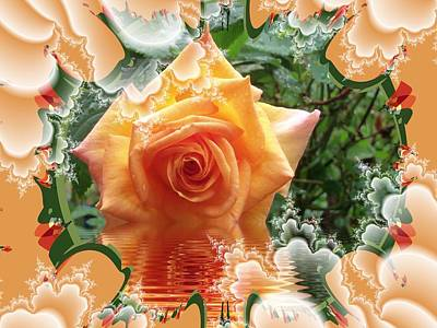 Digital Art - A Little Orange Rose by Nancy Pauling