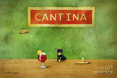 Chihuahua Wall Art - Painting - a little Sangria... by Will Bullas