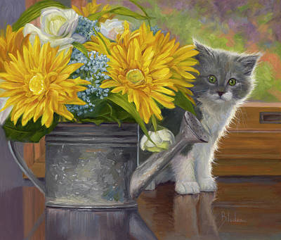 Watering Can Painting - A Little Shy by Lucie Bilodeau