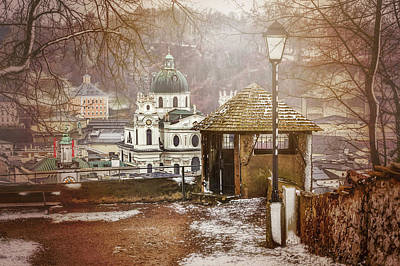 Streetlight Photograph - A Little Snow In Salzburg  by Carol Japp