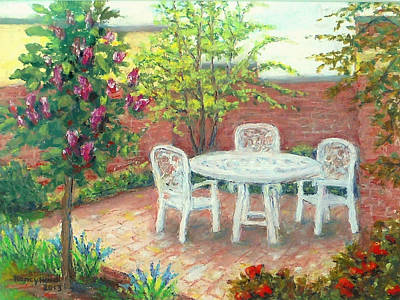 A Little Spring Patio  Art Print by Nancy Heindl