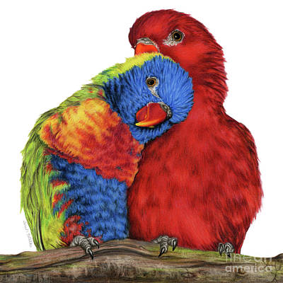 Parakeet Painting - Love Will Keep Us Together by Sarah Batalka