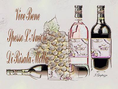 Italian Wine Digital Art - A Little Vino by Jean Gugliuzza