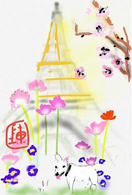 Digital Art - a little white dog in Paris by Debbi Saccomanno Chan