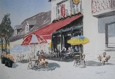 A L'ombre D'une  Terrasse D'un  Cafe  Shadow Of An Outdoor Pub Original by Dominique Serusier